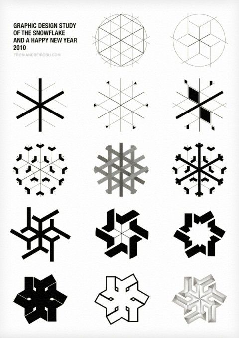 Graphic Design Study of the Snowflake by Andrei D. Robu. (wrapping inspiration)