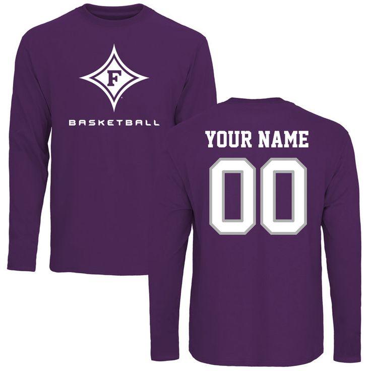 Furman Paladins Personalized Basketball Long Sleeve T-Shirt - Purple