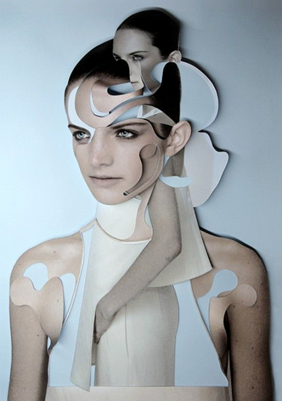 Flowing lines, shapes and paper faces by Damien Blottiere    Could create layers for multiple personalities