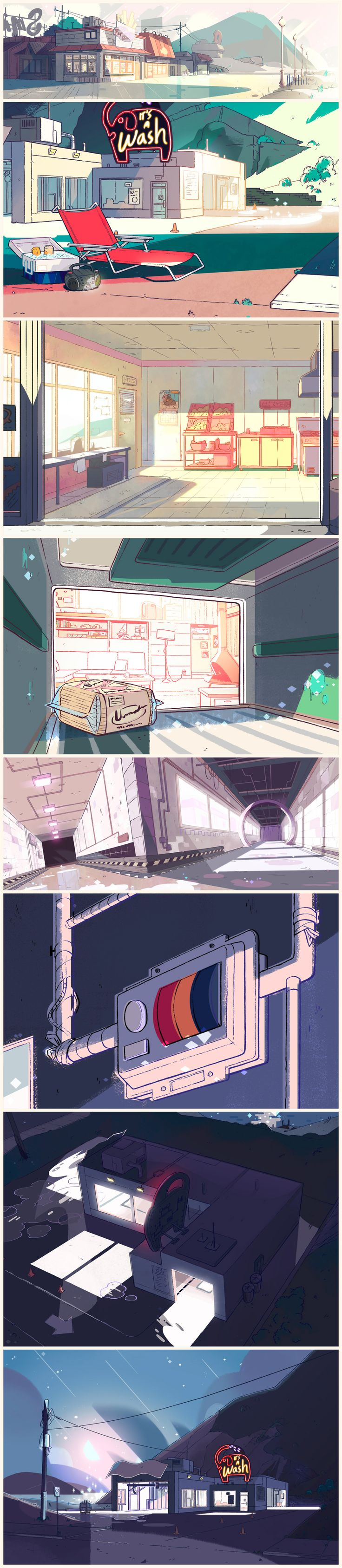 "A selection of Backgrounds from the Steven Universe episode: ""Cat Fingers"""