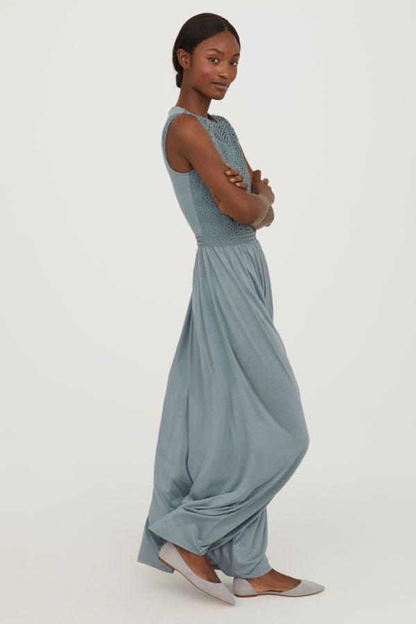 56144861755f7 Long Dress with Lace Bodice | Dusky green | WOMEN | H&M US affordable blue  bridesmaid dress