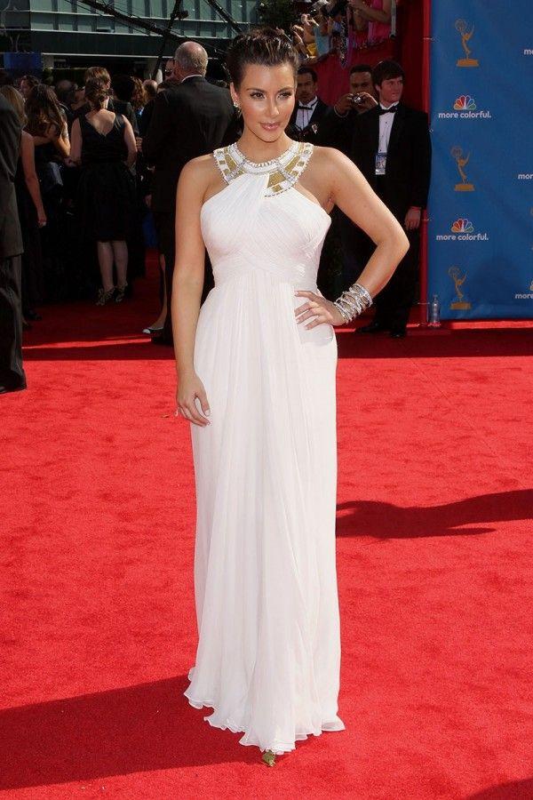 c07047dde6 Kim Kardashian White Red Carpet Dress At 2010 Emmy Awards in 2019 ...