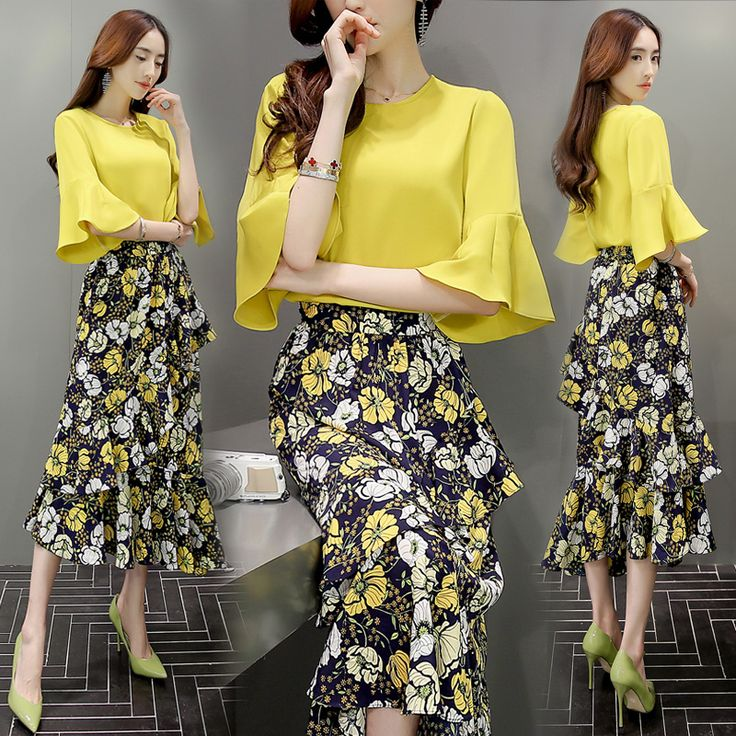 Yellow blouse, floral skirt.