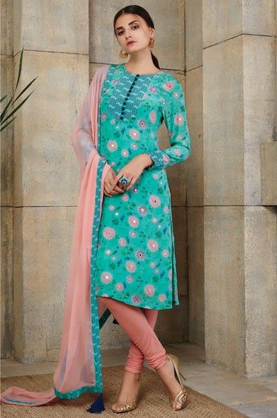 Payal Singhal Green Straight Cut Party Wear Designer Salwar Kameez