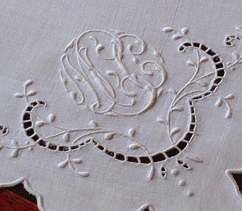 Em's Heart Antique Linens -Monogrammed Vintage French Linen Lace Napkins