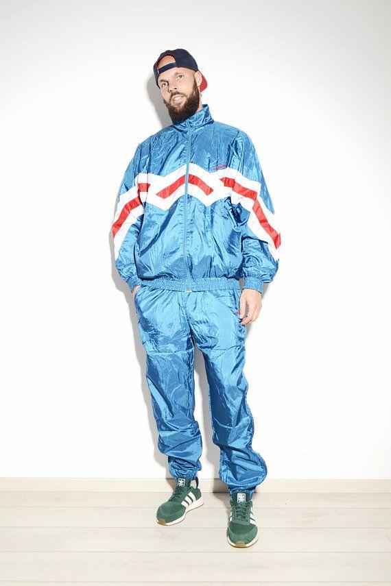 Adidas Originals 90 S Style Vintage Festival Shell Suit Old School Men S Cyan Bright Blue Colour Sports Lightweight Windbreaker Tracksuit Vintage Tracksuit Shell Suit Vintage Sports Clothing