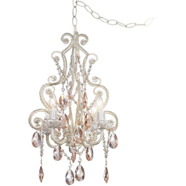 Feiss Leila Collection Plug In Swag Chandelier 160 Liked On Polyvore Featuring Home Lighting Ceiling Lights Pink Wall