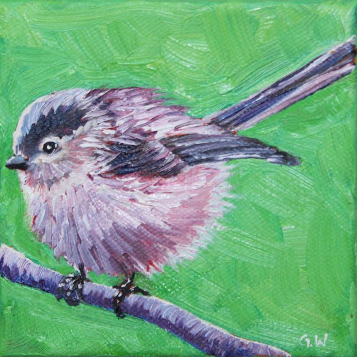 BIRD PAINTING, OIL painting, original art, original painting, small painting, green, long-tailed tit painting, bird, wall decor, home decor by GrazynaWolski on Etsy