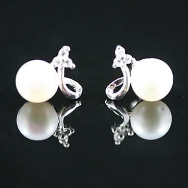 925 Sterling Silver With Freshwater Pearl Stud Earrings (More Colors) – USD $ 14.99