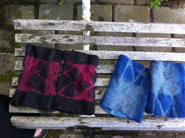 Nuno felted wristwarmers. Shibori-dyed. Silk, merino.