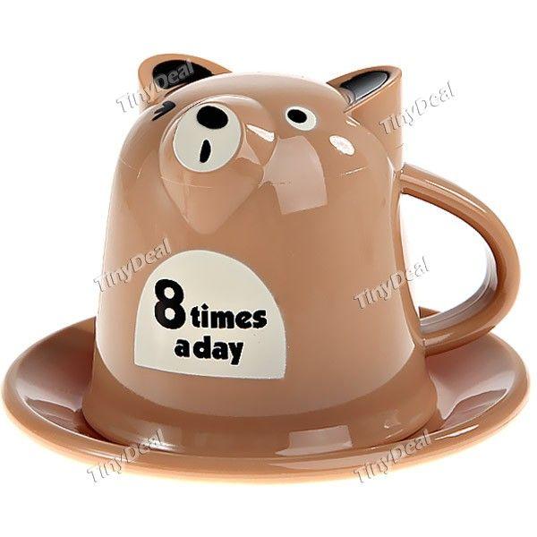 2-in-1 Bear Shaped Cup Set Plastic Cup Milk Tea Coffee Water Mug + Cup Lid Pad - Color Assorted HKI-204761