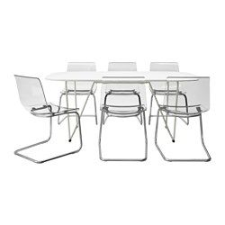 OPPEBY/BACKARYD / TOBIAS, Table and 6 chairs, white, chrome-plated transparent