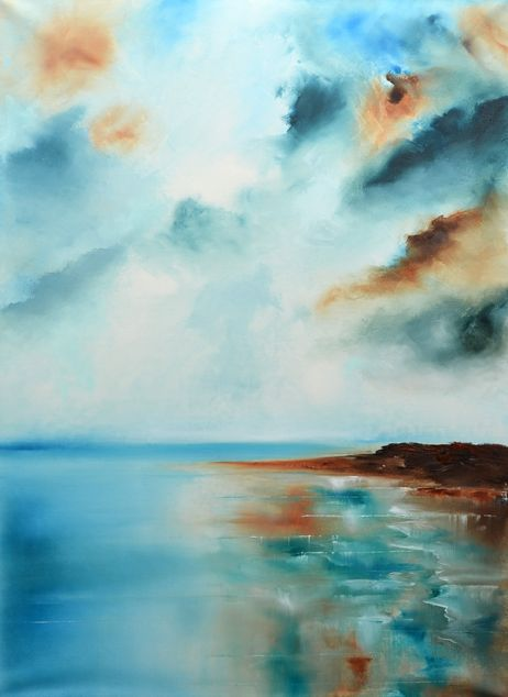 """""""Calm III"""" is an abstract sea painting.  The size of artwork is: 50 X 70 X 3 cm  The painting is made on high quality canvas, with the finest oil materials and it is varnished for protection against UV light and dust.  All paintings are signed by the artist and a Certificate of Authenticity is also included in the"""