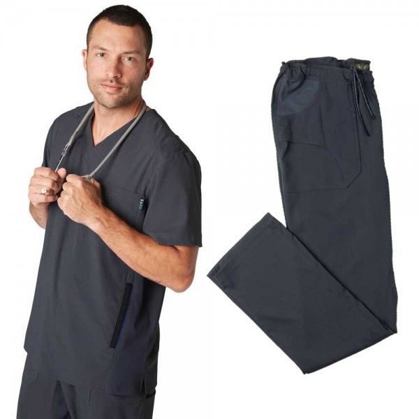 Koi Lite Men's Set in Charcoal. This athletic-style set is made from super soft, durable, lightweight fabric. The set is moisture wicking and breathable giving you excellent movement and comfort. £59.99 #menscrub #dentistscrub #nursescrubs #greyscrub