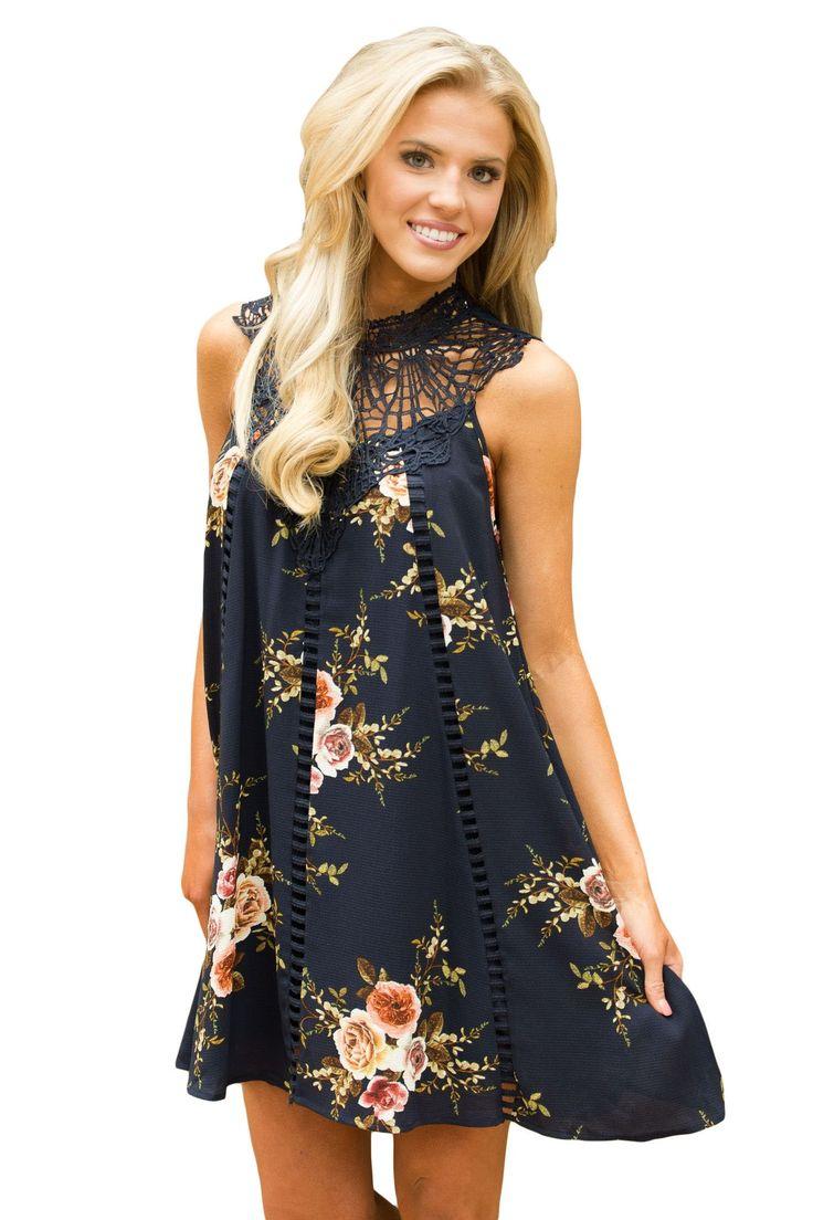 Chicloth Black Crochet Lace Neck Floral Dress