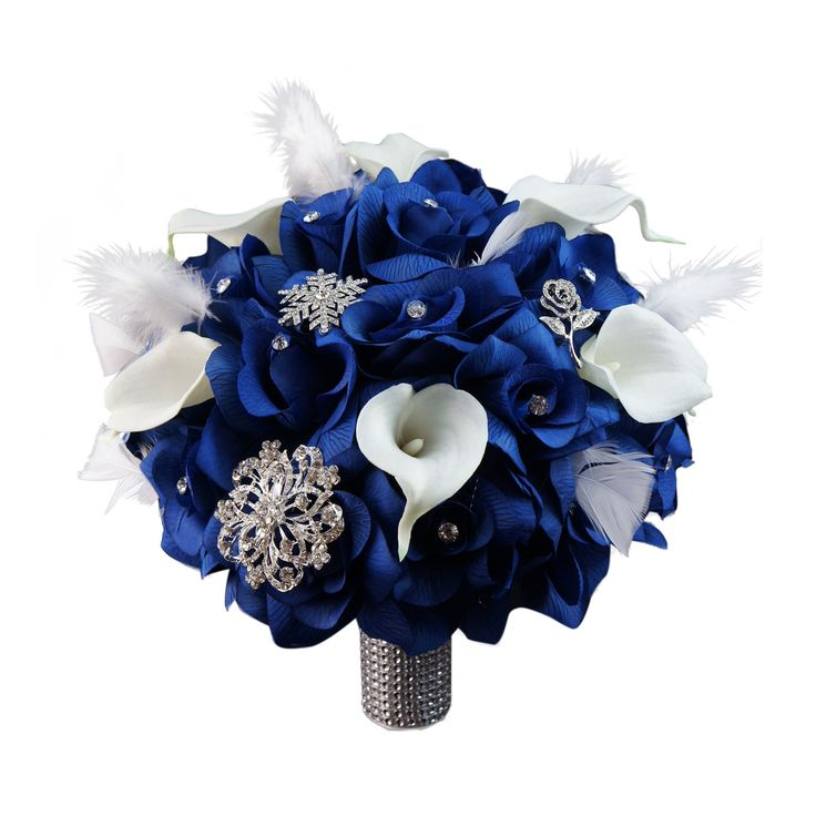 """10"""" Bouquet-Horizon Royal Blue with White Calla lily Feather and Brooches"""