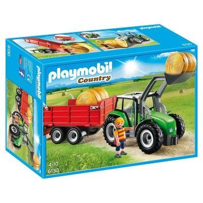 1000 Playmobil 6130 : Country : Tracteur avec pelle et remorque - Playmobil-6130