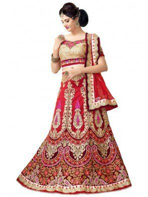 Red and Maroon Net Lehenga Choli with Embroidery Work