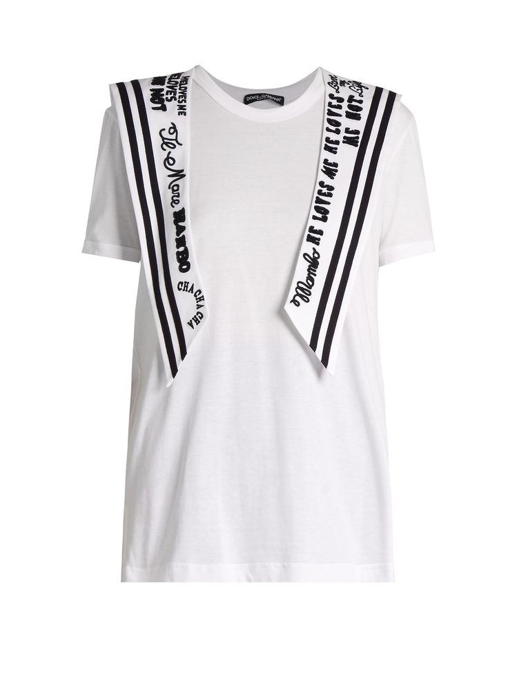 Embroidered sailor-collar cotton-jersey T-shirt  | Dolce & Gabbana | MATCHESFASHION.COM UK