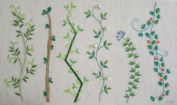 """botanical plate no.4"" needlework illustration Ⓒ Nagako Ono HAPPa_Ya #embroidery #plants"