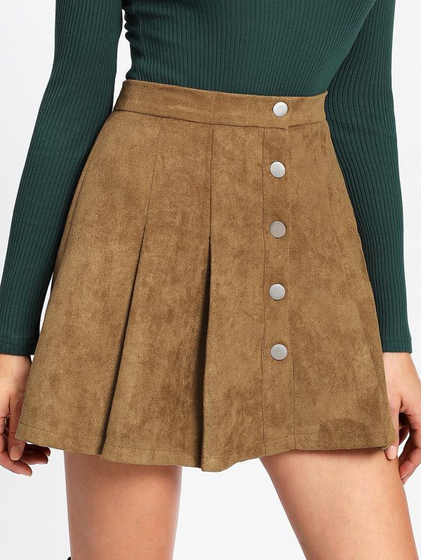 6414a0320c9 Single Breasted Suede Skirt -SheIn(Sheinside)   :: >> Just Landed ...