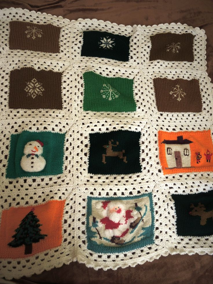afghan crochet, baby blanket crochet, winter motivs afghan crochet, snowflakes knitten blanket, snowman, santa claus, reindeer, cute house, christmas tree blanket