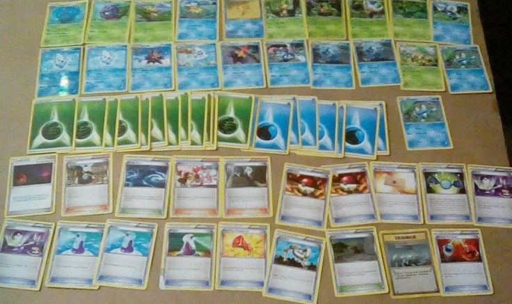 Pokemon Deck green/blue Includes Quilladin and Vanillite holographic.