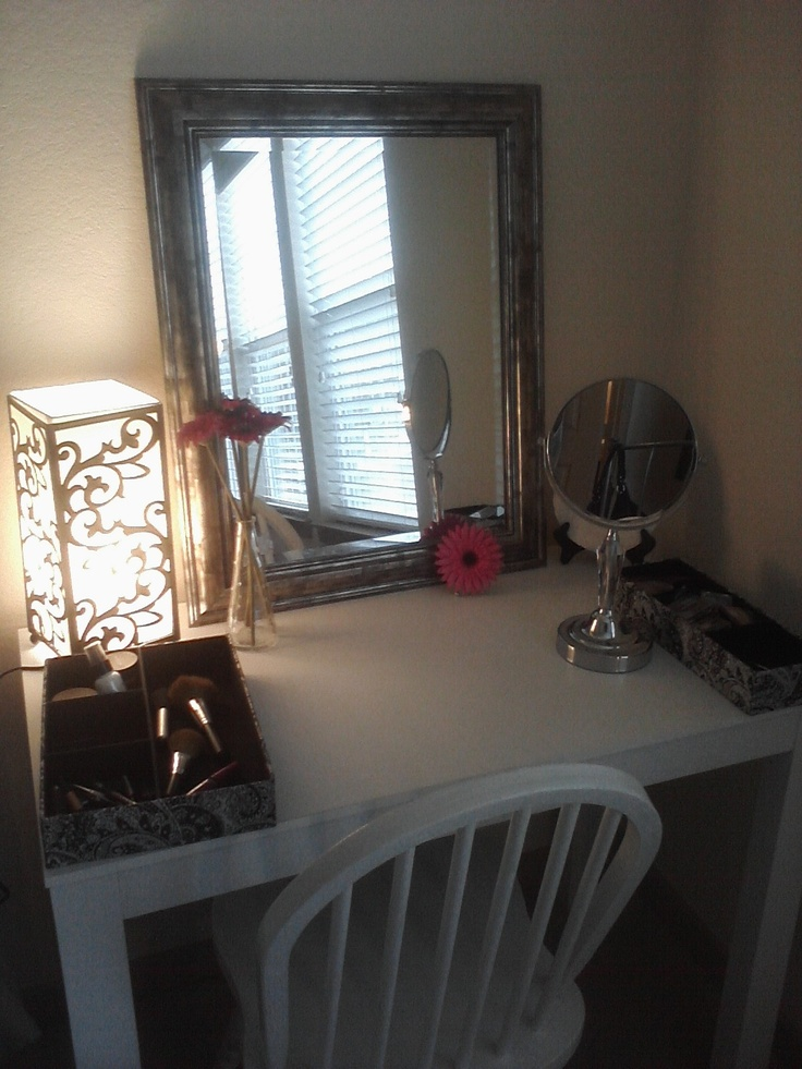 Vanity I Created Mirror 19 99 Tj Maxx White Desk 19 99 Walmart Lamp 12 99 Family Dollar