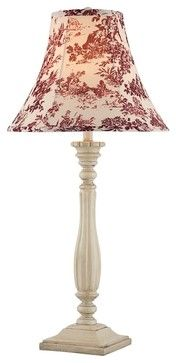 Country - Cottage Red Toile Shade Fluted French Table Lamp traditional-lamp-shades