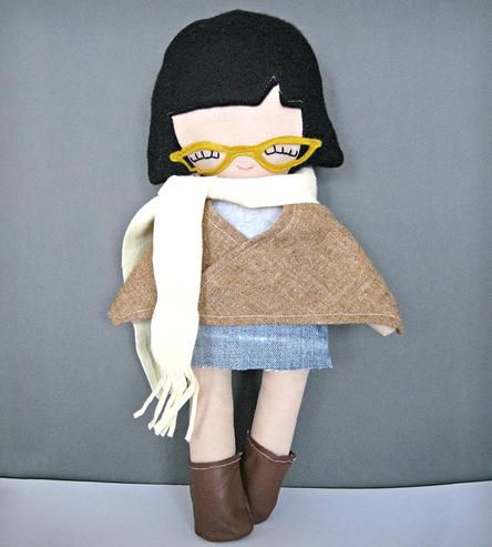 Hipster Girl Rag Doll with Skull and Heart Tattoo