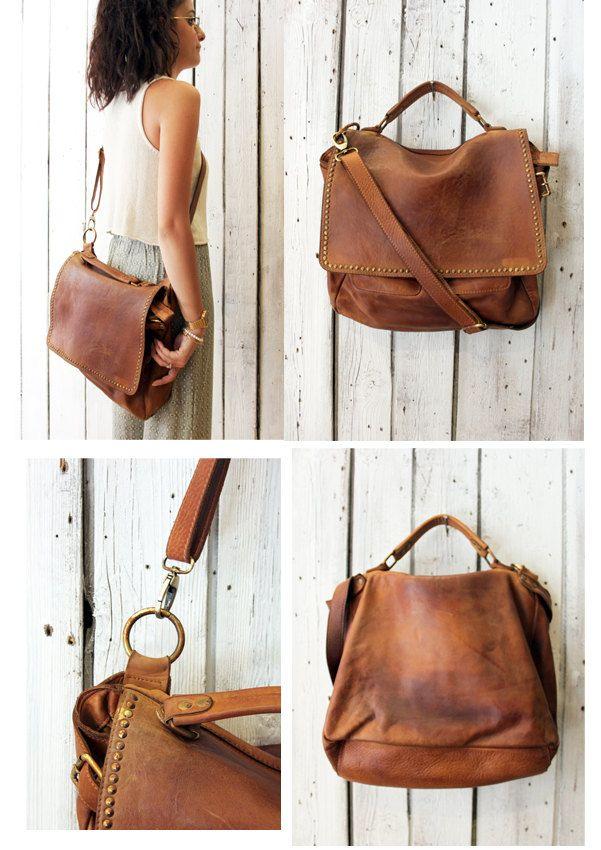 "Handmade Italian Vintage Brown Leather Bag ""TOBACCO BAG 4"" di LaSellerieLimited…"
