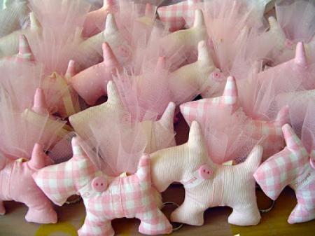 Bomboniere battesimo cagnolini rosa  Bomboniere battesimo cagnolini