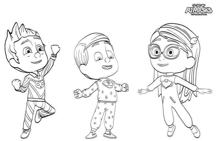 Pj Masks Pajama Heroes Coloring Page Pj Masks Pajamas Coloring