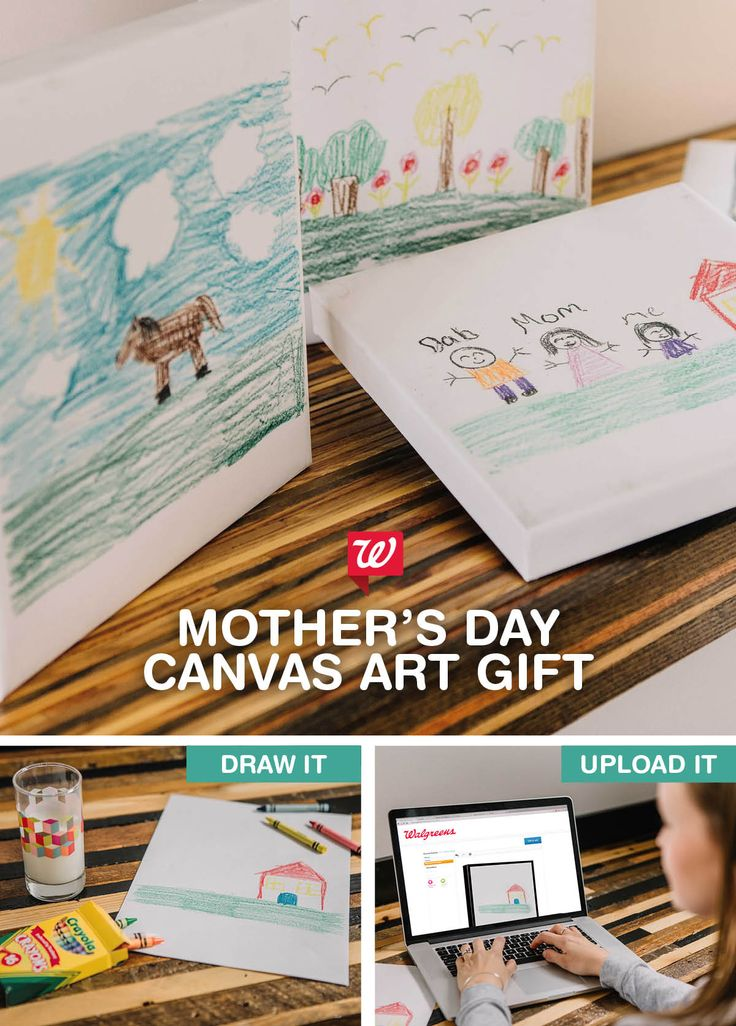 Turn your child's masterpiece into a custom  Canvas Print for a heartfelt way to show Mom you care this Mother's Day. Upload her favorite drawing to the Walgreens Photo website and choose a framed or unframed Canvas Print, then pick it up in store or have it shipped to your door.