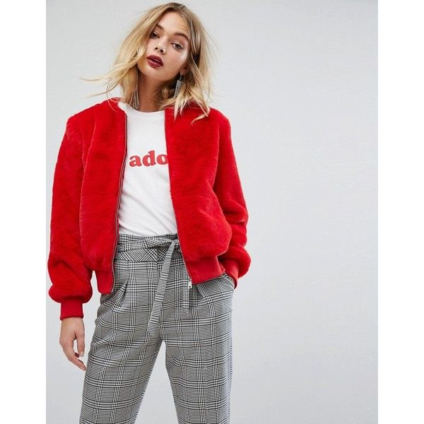 Miss Selfridge Teddy Fur Bomber Jacket ($88) ❤ liked on Polyvore featuring outerwear, jackets, red, flight jacket, zipper jacket, bomber style jacket, tall jackets and miss selfridge