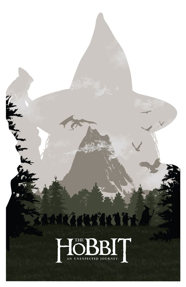 The Hobbit Print by Brandon Riesgo, via Behance