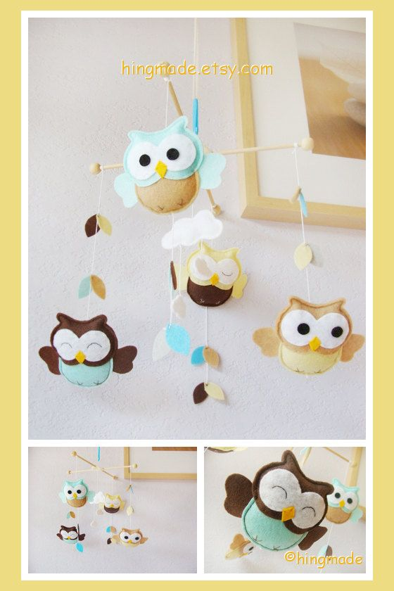 Owl Mobile - Baby Mobile - Kids Playroom Decor - Felt Mobile - Brown Turquoise Tan Yellow Owls in clouds leaves (Custom Color Available)