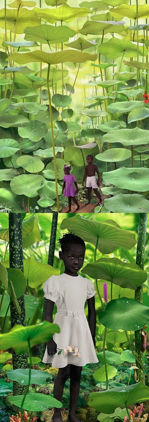 """FAKE ~ """"Fern Forest"""" which is a tag for an image done by Ruud van Empel. Van Empel's working method is a complex one. He photographs 4 or 5 professional models in his studio and takes many detailed photographs of leaves, flowers, plants and animals. The models pictures are mixed with these images using the Photoshop program and with clothes photographed separately on a tailor's dummy. In this way he creates new images of mainly children, in black and white, set in a paradisaical environment."""