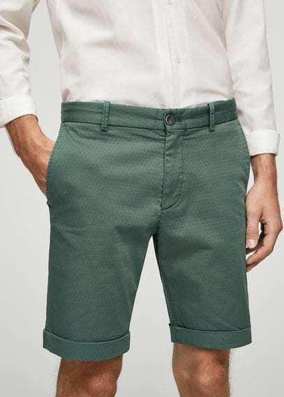 MANGO MAN Structured cotton bermuda shorts