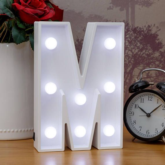 Light Up Letters M Marquee Letters Led Bedside Lamp White Light Up Letters Light Letters Wooden Light