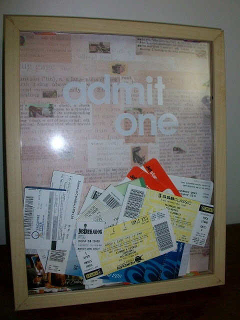 Admit one ticket box frame. I've got to do this for the million movie/theme park stubs we have.