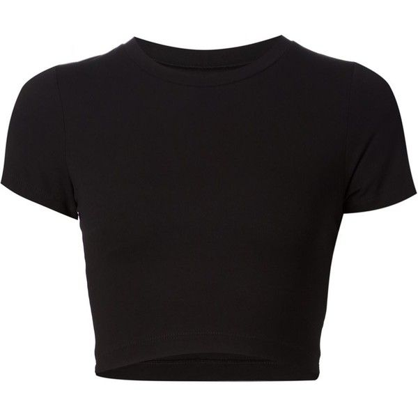 Getting Back To Square One cropped T-shirt ($115) ❤ liked on Polyvore featuring tops, t-shirts, shirts, crop tops, black, black top, t shirts, shirts & tops, crop tee en crop t shirt