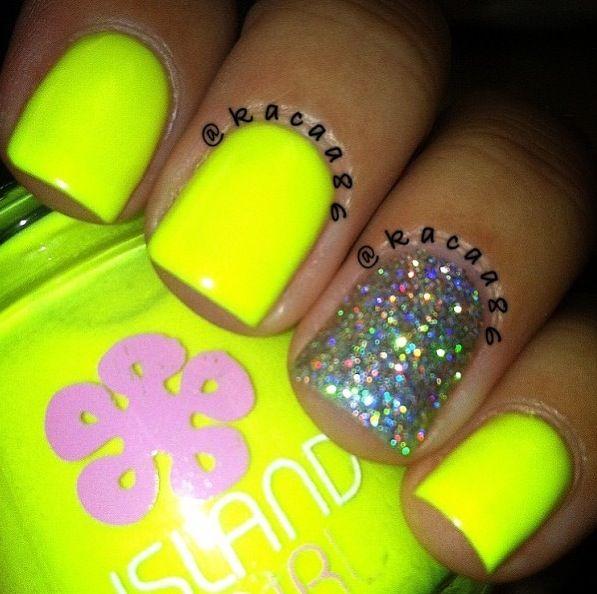 neon nails simple nail designs Love!♥