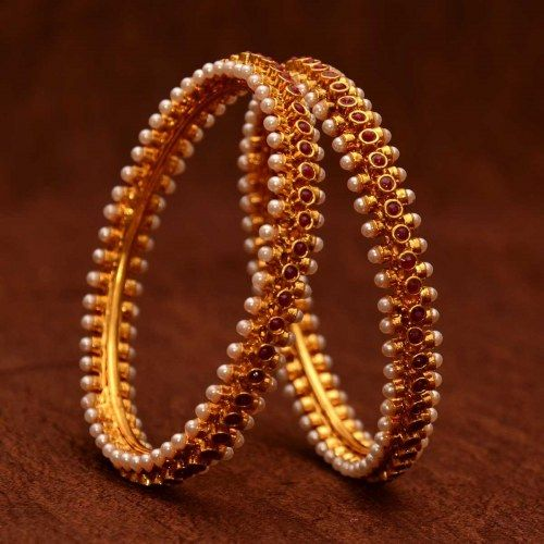 Avni's pearl bangles studded with rubies (Size 2.6)