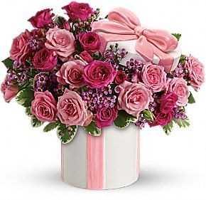 FDH's Hats Off to Mom Bouquet Flowers - Hats off to an adorable gift for Mom. Shell be totally charmed by the sweet bouquet of pink roses and the delightful ceramic hat box with its sculpted.