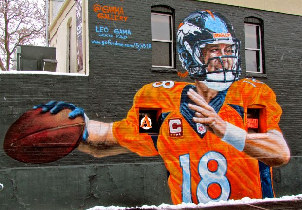 Feb. 1 of Denver street artist Gamma Acosta's mural of Peyton Manning at 16th Street and Platte Street. It was made using spray paint.