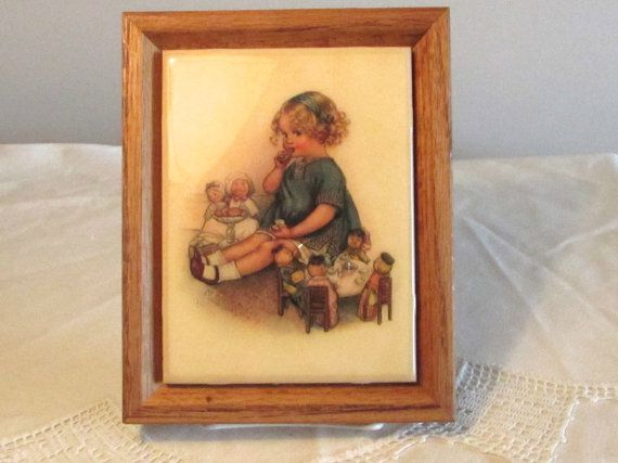 Little Girl Framed Picture Tile Tea Party Picture by LasLovelies
