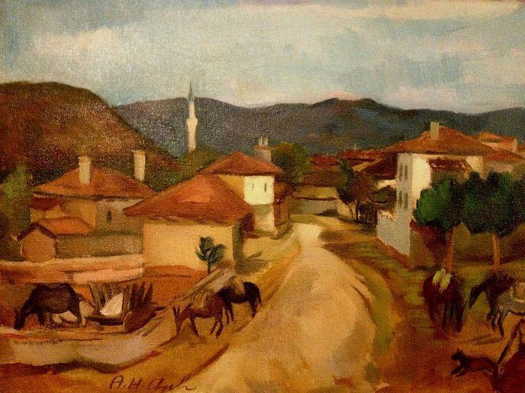 @ab_sanat, Hakkı Anlı - Tuval yağlı boya ; 33 x 45 ; Yurt gezilerinden #hakkıanlı #manzara #peyzaj #figür #figure #figürlükompozisyon #absanat