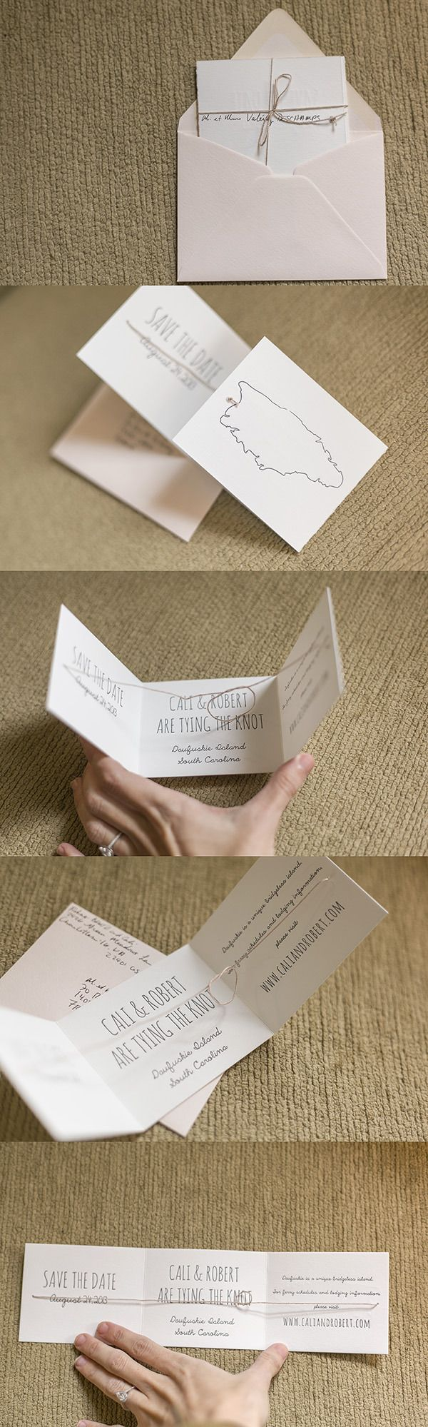 Cali and Robert Letterpress DIY Tie the Knot Save the Date