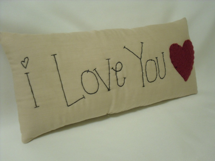 Primitive Sayings | Primitive Pillow I Love You 10 x 4.5 by SweetKountryStitchin
